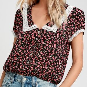 Free People L Top Blouse Floral Lace Button up NWT